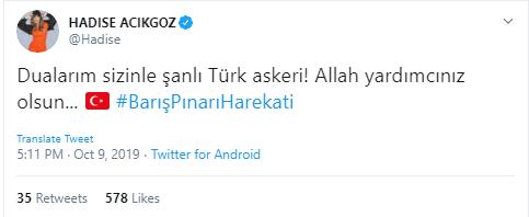 Ünlülerden Türk askerine destek! İşte ünlü isimlerin 'Barış Pınarı Harekatı' paylaşımları 1