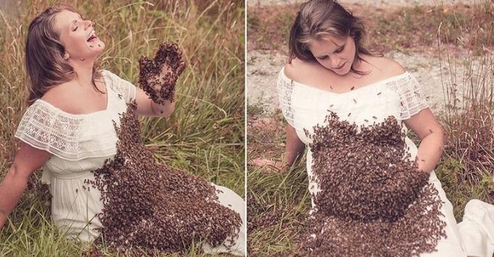 Hamile kadının arılarla şovu korkunç bitti 5
