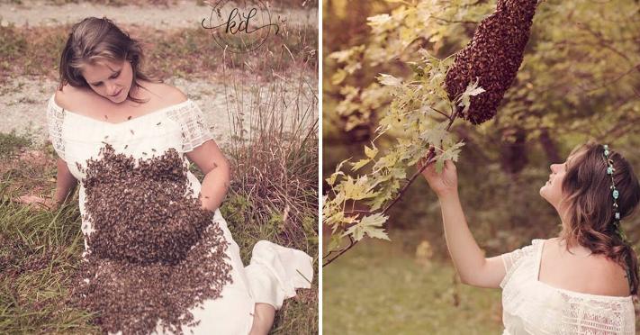 Hamile kadının arılarla şovu korkunç bitti 7