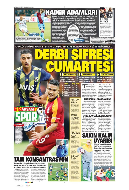İşte 21 Şubat günün spor manşetleri! Haftanın önemli spor gelişmeleri 1