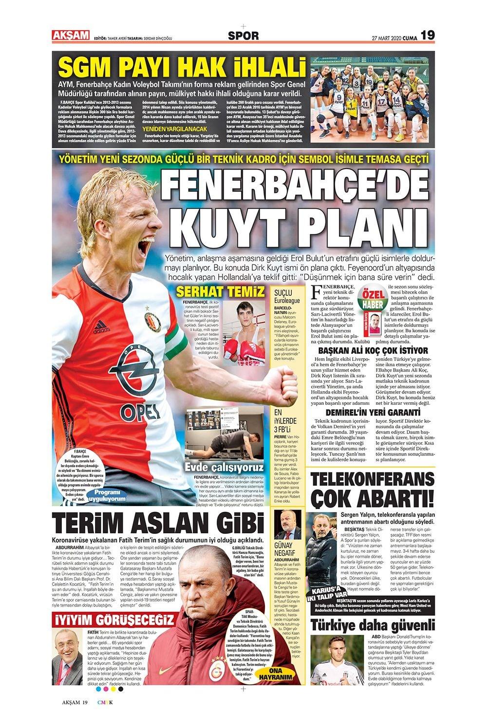 İşte 27 Mart günün spor manşetleri! Haftanın önemli spor gelişmeleri 1