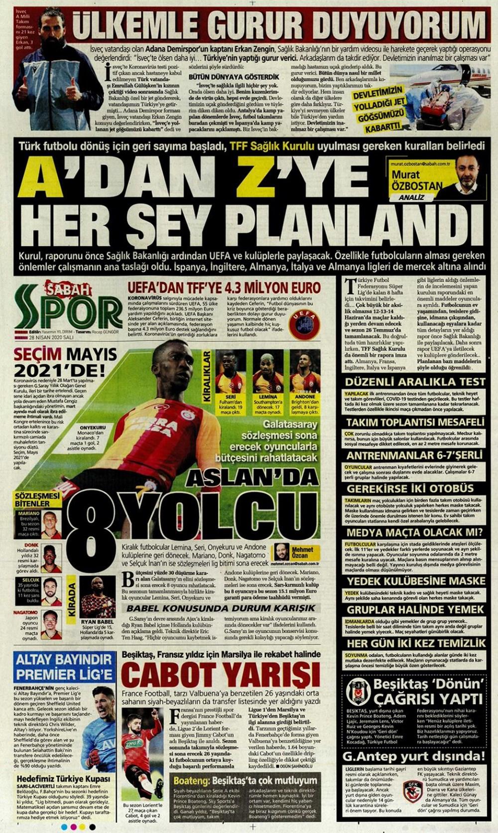 İşte 28 Nisan günün spor manşetleri! Haftanın önemli spor gelişmeleri 1