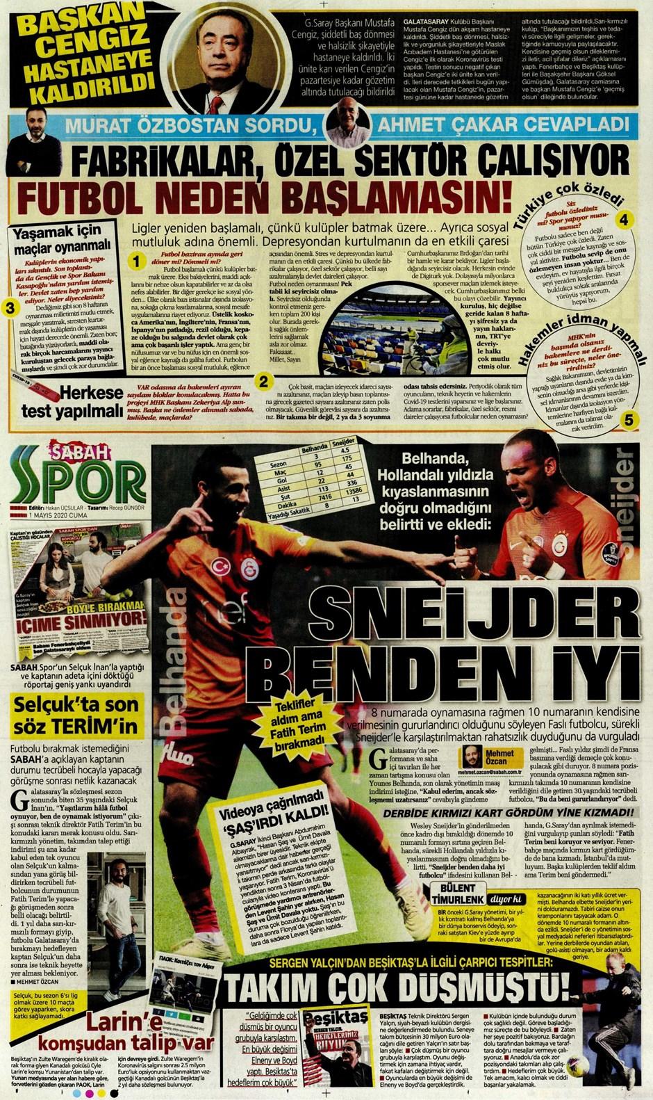 İşte 1 Mayıs günün spor manşetleri! Haftanın önemli spor gelişmeleri 1
