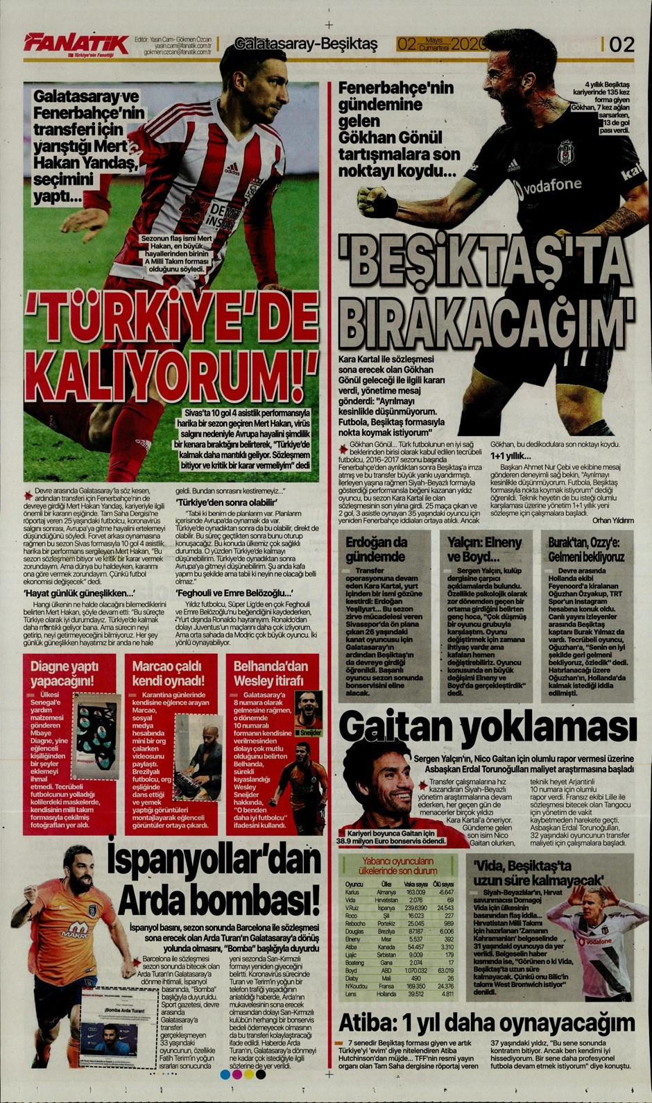 İşte 2 Mayıs günün spor manşetleri! Haftanın önemli spor gelişmeleri 1