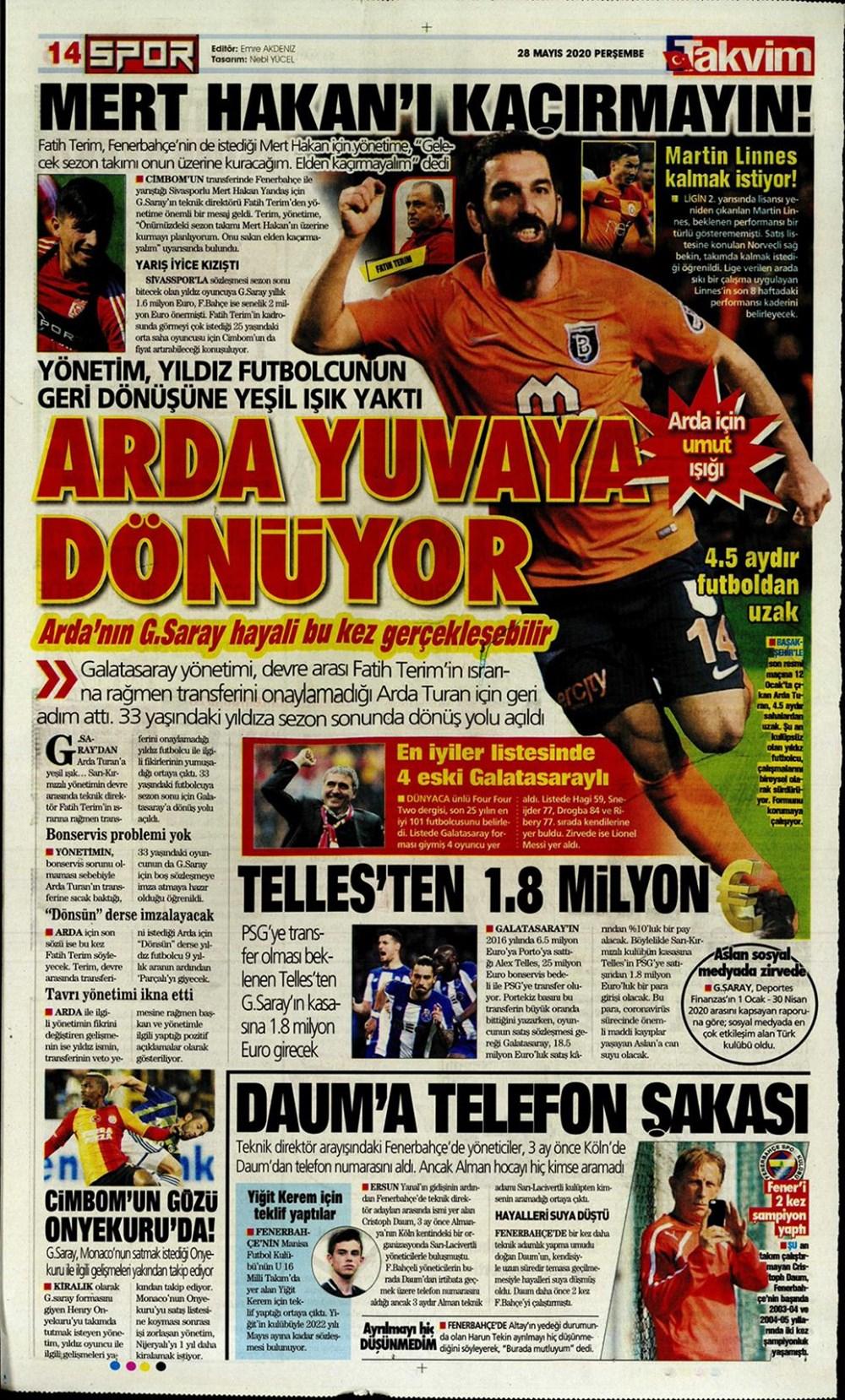 İşte 28 Mayıs günün spor manşetleri! Haftanın önemli spor gelişmeleri 1