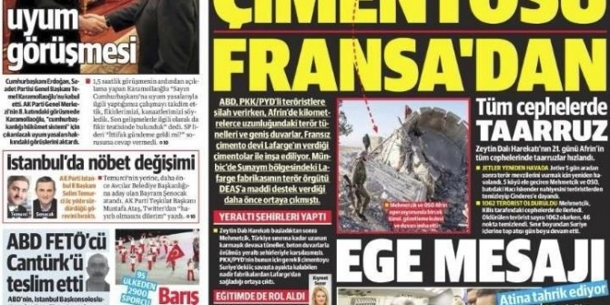 10 Şubat 2018 Gazete manşetleri Hürriyet - Sözcü - Sabah