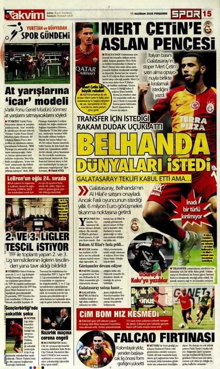 11 Haziran spor manşetleri! Fener ve cimbom transfer bombalarını patlatıyor 8