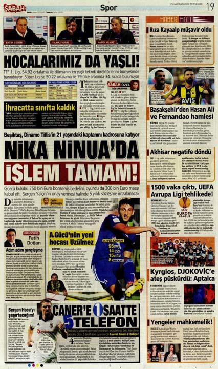 25 Haziran spor manşetleri! Fener transferde taarruza kalktı 15