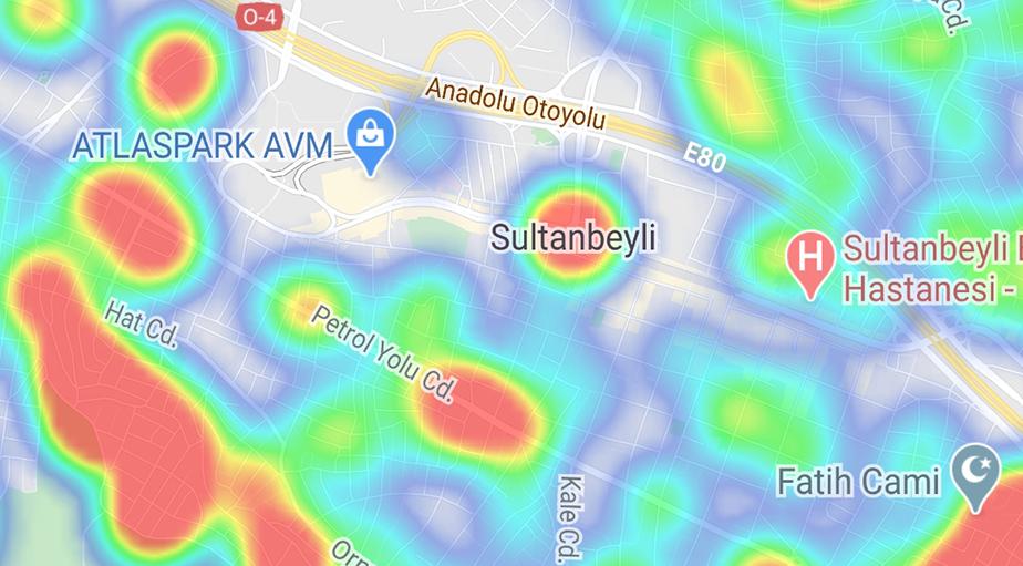 """""""Hayat Eve Sığar"""" uygulamasına göre ilçe ilçe İstanbul'un koronavirüs yoğunluk haritası 32"""