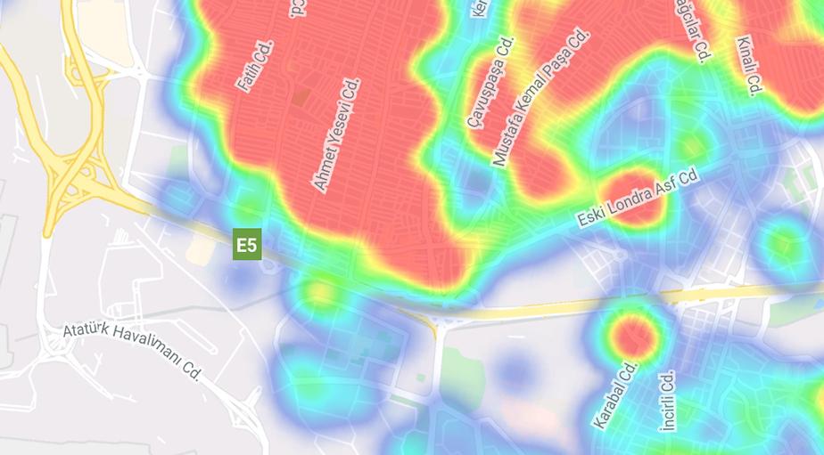 """""""Hayat Eve Sığar"""" uygulamasına göre ilçe ilçe İstanbul'un koronavirüs yoğunluk haritası 6"""
