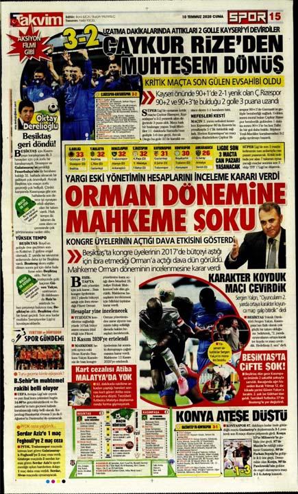 10 Temmuz günün spor manşetleri! 1