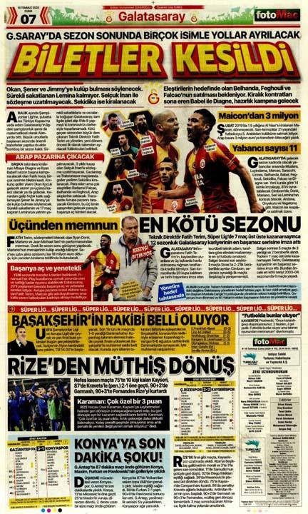 10 Temmuz günün spor manşetleri! 10