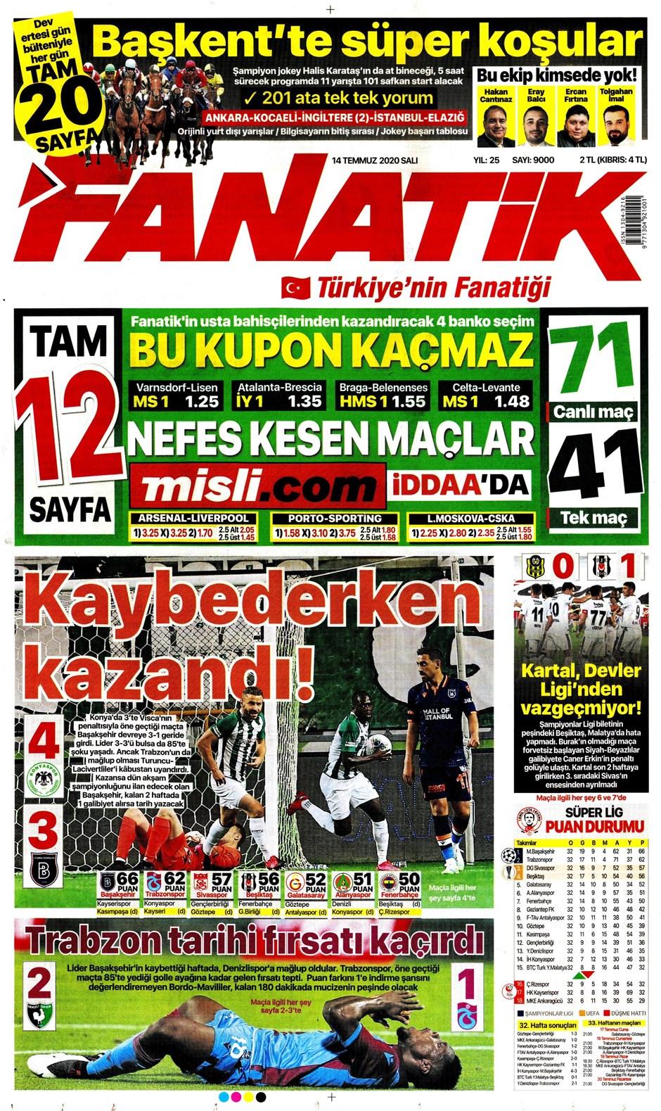 Sporda gazete başlıkları! Günün spor manşetleri (14 Temmuz 2020) 10