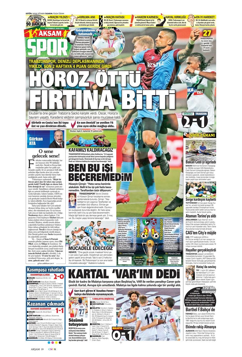 Sporda gazete başlıkları! Günün spor manşetleri (14 Temmuz 2020) 5