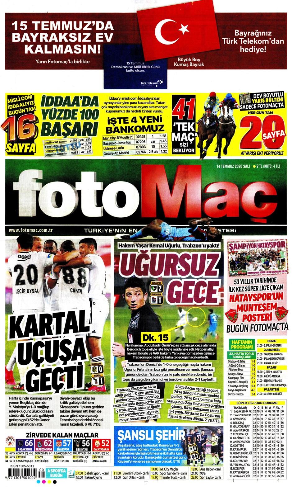 Sporda gazete başlıkları! Günün spor manşetleri (14 Temmuz 2020) 7
