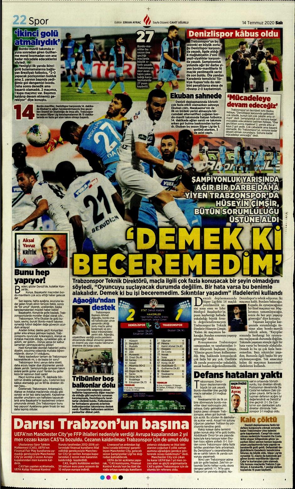 Sporda gazete başlıkları! Günün spor manşetleri (14 Temmuz 2020) 9