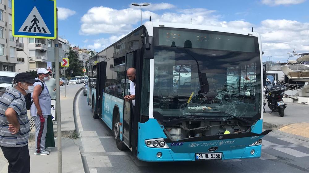 Telefonla konuşan otobüs şoförü, yaya geçidindeki kadına çarptı 4