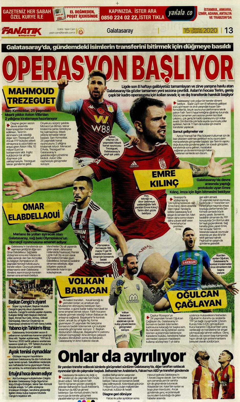 15 Temmuz 2020 günün spor manşetleri! İşte sporda gazete başlıkları 13