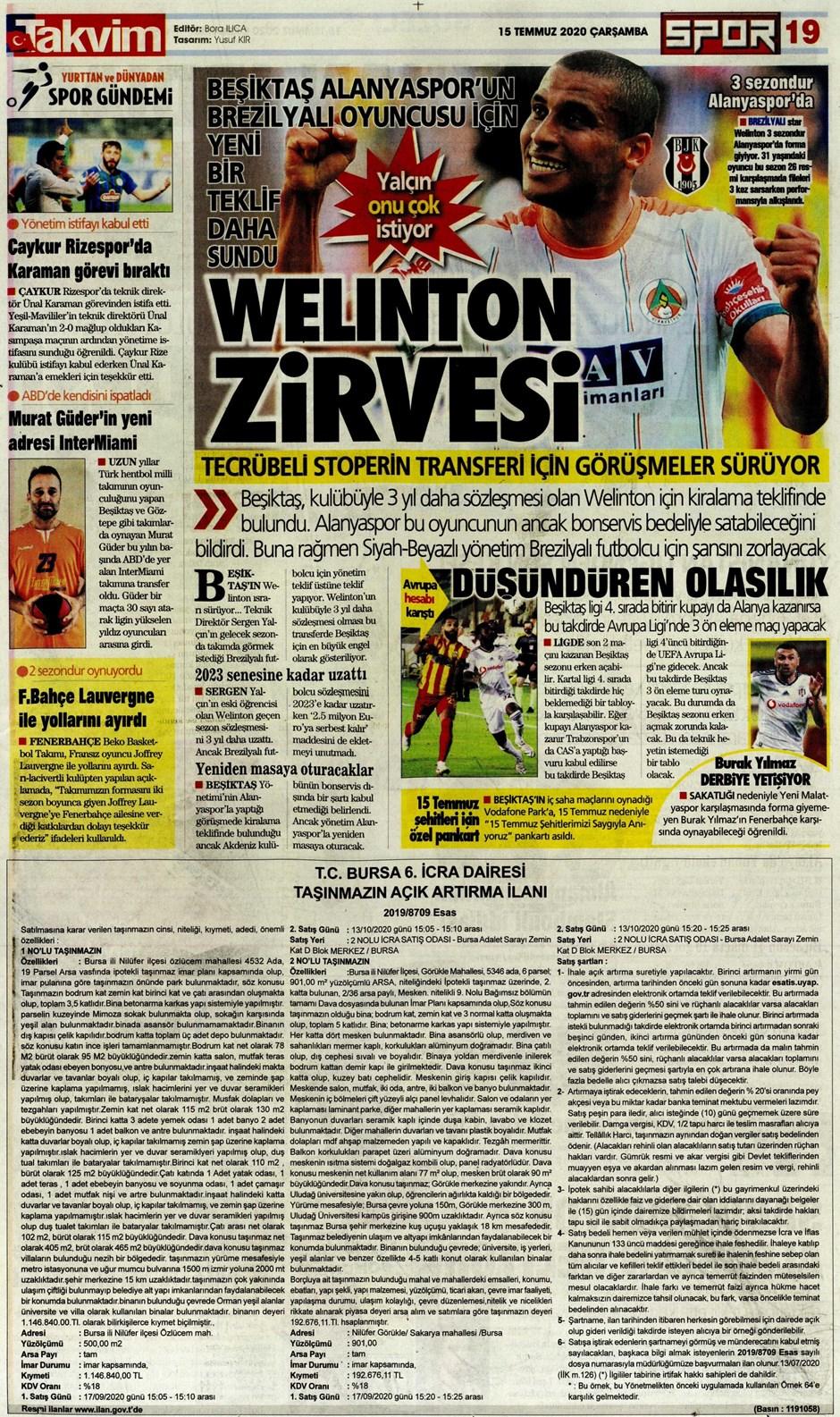 15 Temmuz 2020 günün spor manşetleri! İşte sporda gazete başlıkları 24