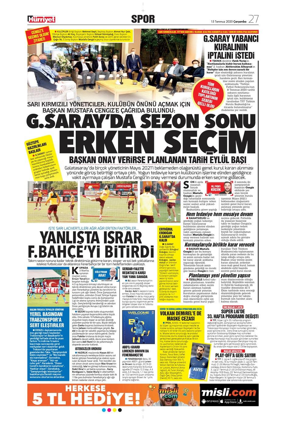 15 Temmuz 2020 günün spor manşetleri! İşte sporda gazete başlıkları 4