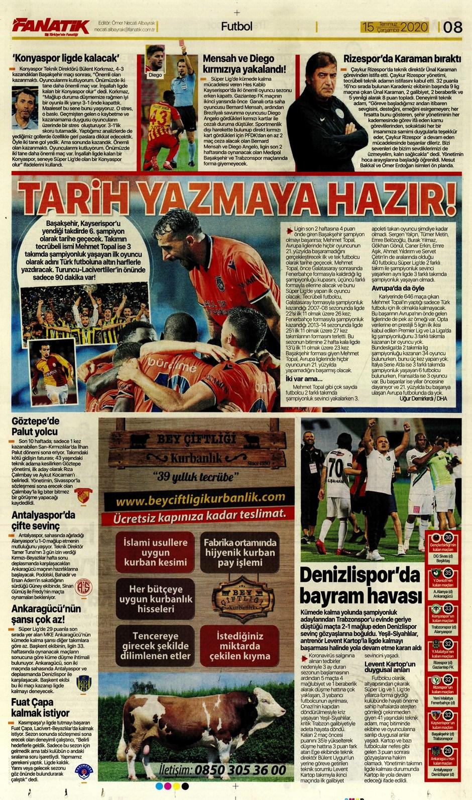 15 Temmuz 2020 günün spor manşetleri! İşte sporda gazete başlıkları 6