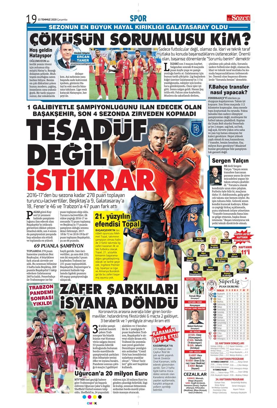 15 Temmuz 2020 günün spor manşetleri! İşte sporda gazete başlıkları 7