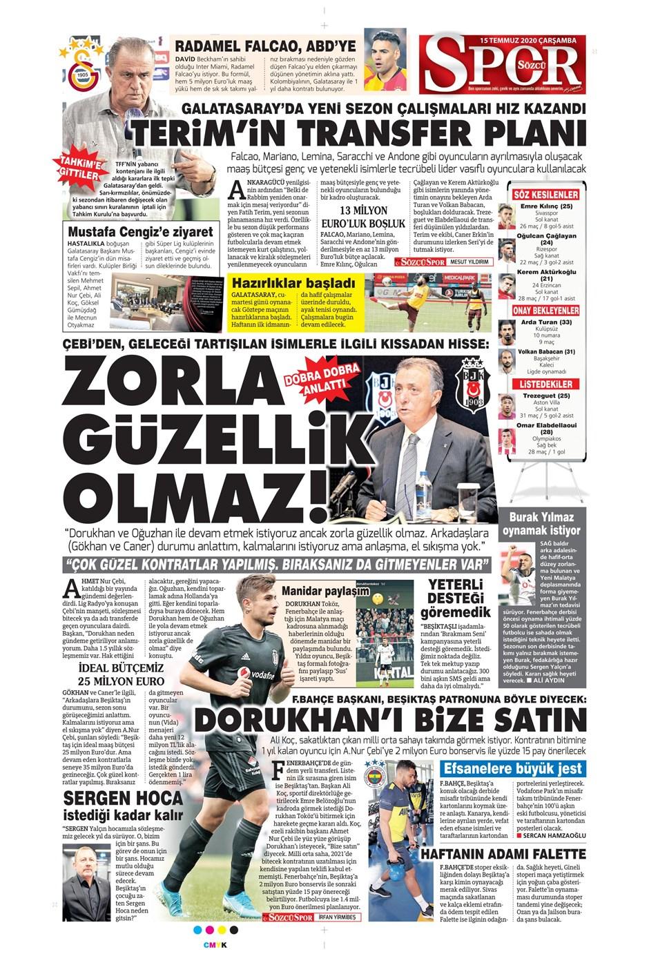 15 Temmuz 2020 günün spor manşetleri! İşte sporda gazete başlıkları 9