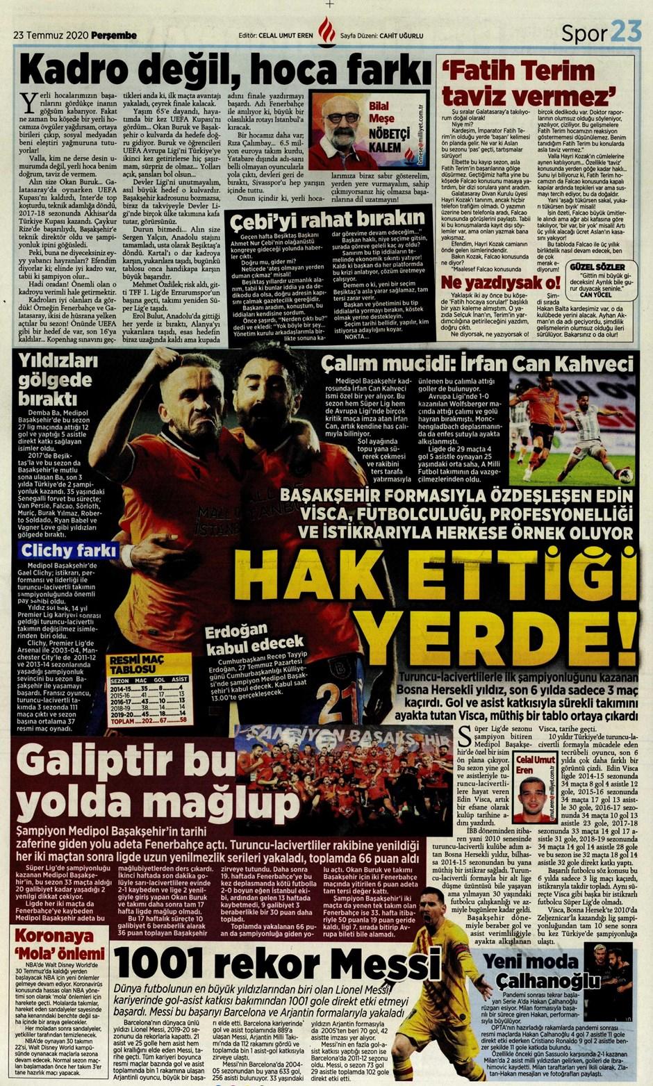 İşte 23 Temmuz günün spor manşetleri! Haftanın önemli spor gelişmeleri 21