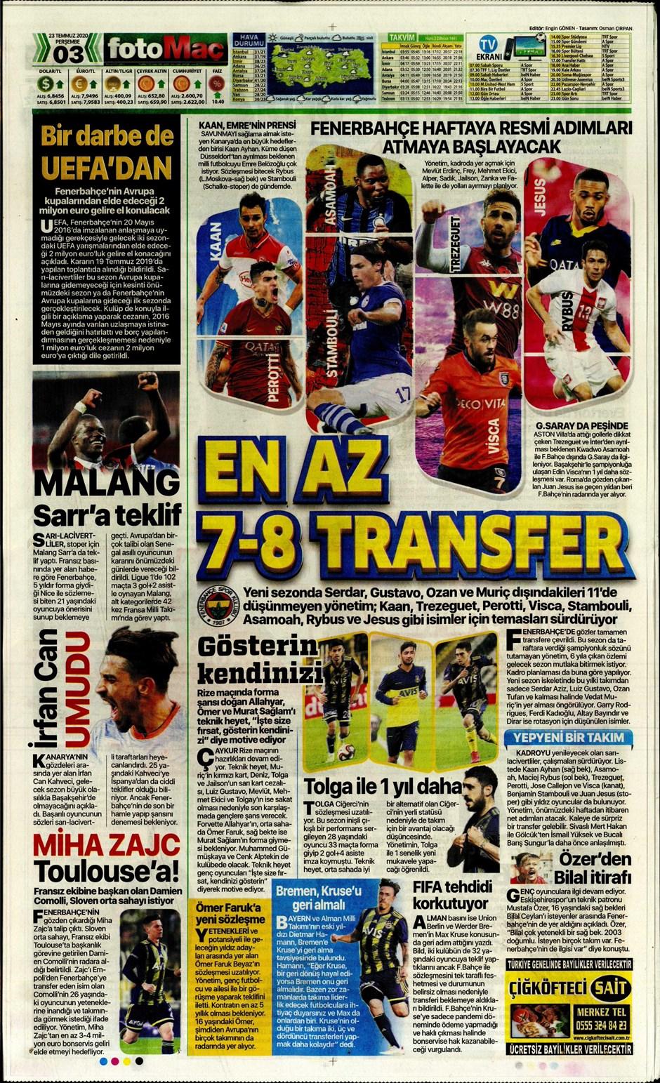İşte 23 Temmuz günün spor manşetleri! Haftanın önemli spor gelişmeleri 4
