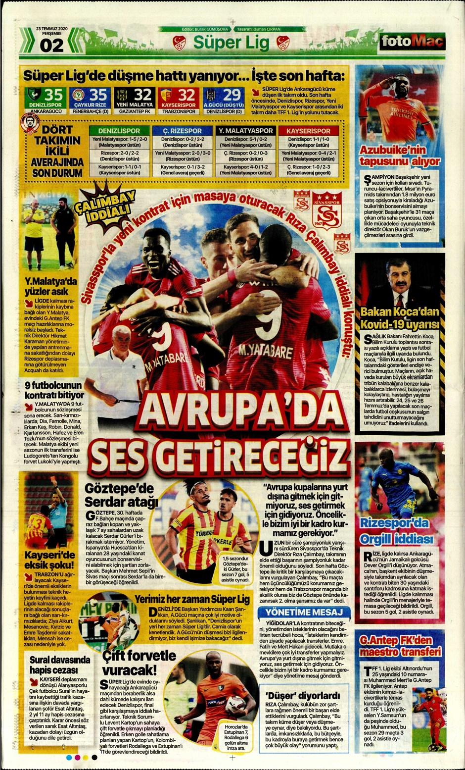 İşte 23 Temmuz günün spor manşetleri! Haftanın önemli spor gelişmeleri 8