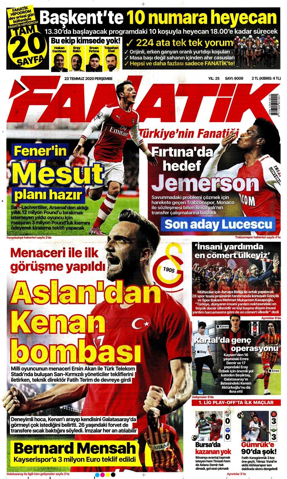 İşte 23 Temmuz günün spor manşetleri! Haftanın önemli spor gelişmeleri 9