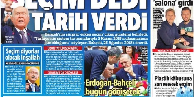 Gazete manşetleri 18 Nisan 2018 Sabah - Habertürk - Sözcü