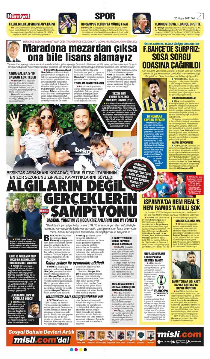 25 Mayıs 2021 Salı günün spor manşetleri   Fenerbahçe, Galatasaray, Beşiktaş ve Trabzonspor'dan haberler 12