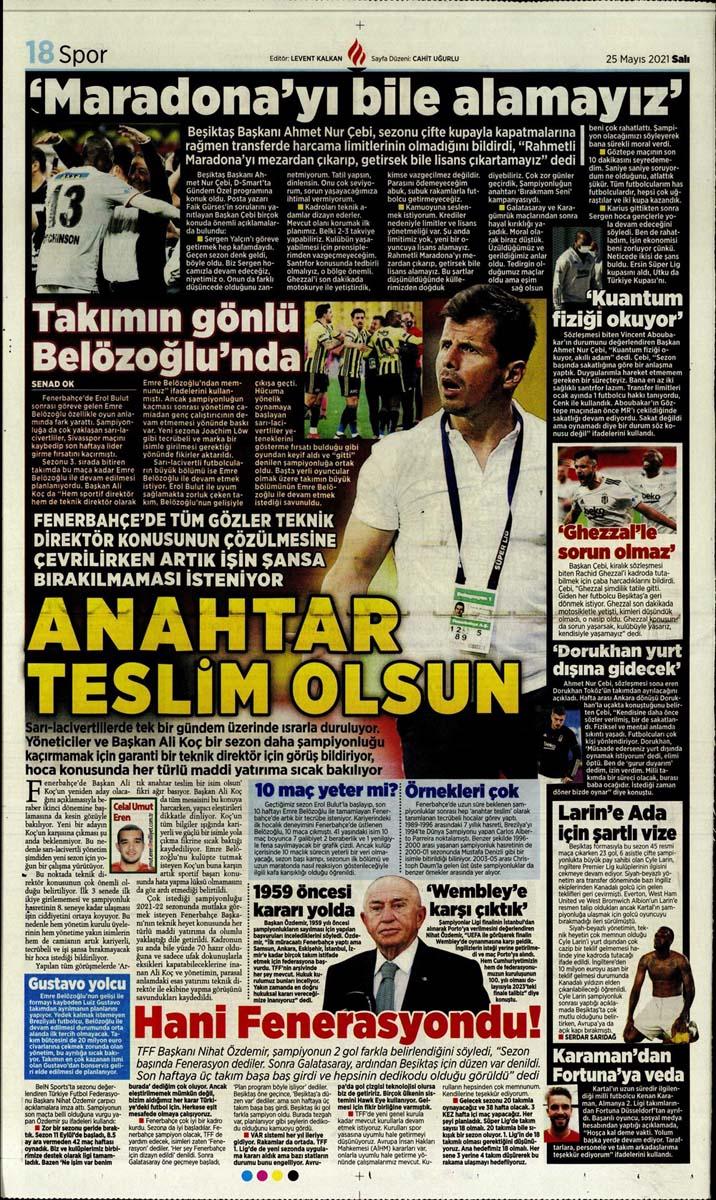 25 Mayıs 2021 Salı günün spor manşetleri   Fenerbahçe, Galatasaray, Beşiktaş ve Trabzonspor'dan haberler 14