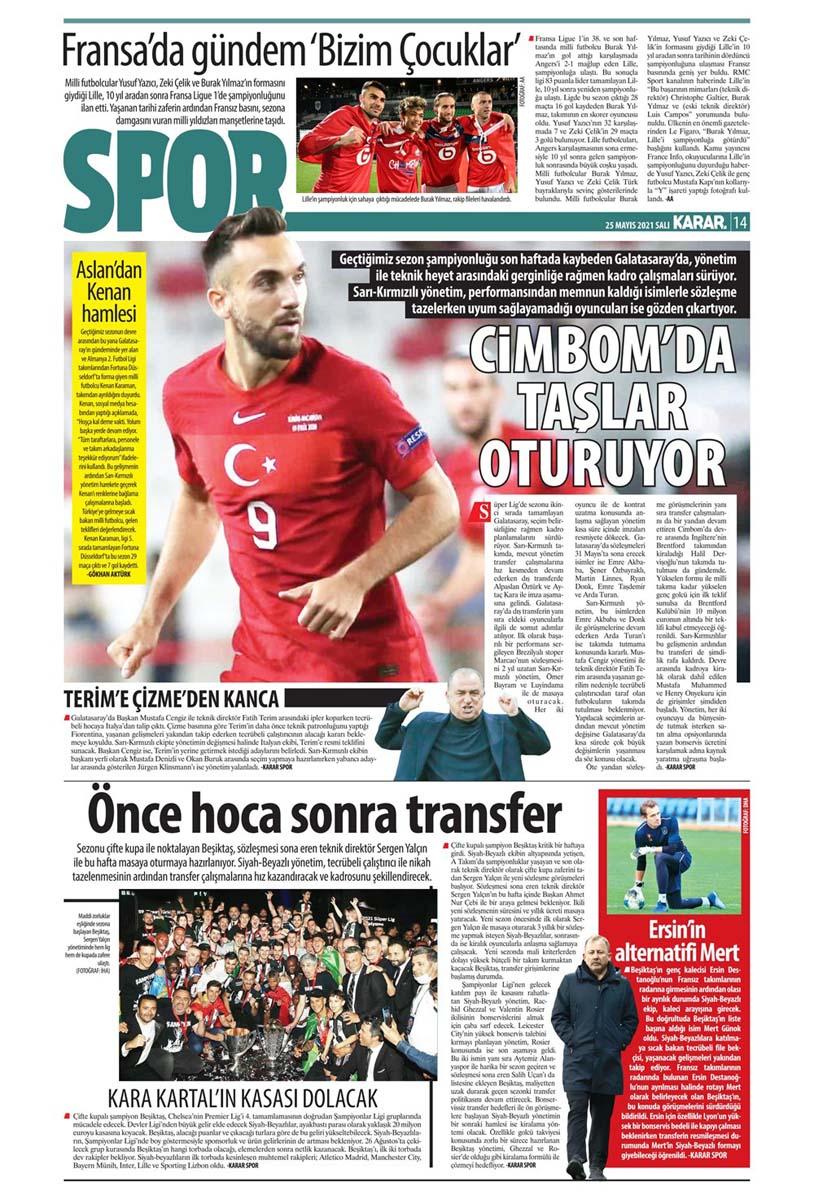 25 Mayıs 2021 Salı günün spor manşetleri | Fenerbahçe, Galatasaray, Beşiktaş ve Trabzonspor'dan haberler 15