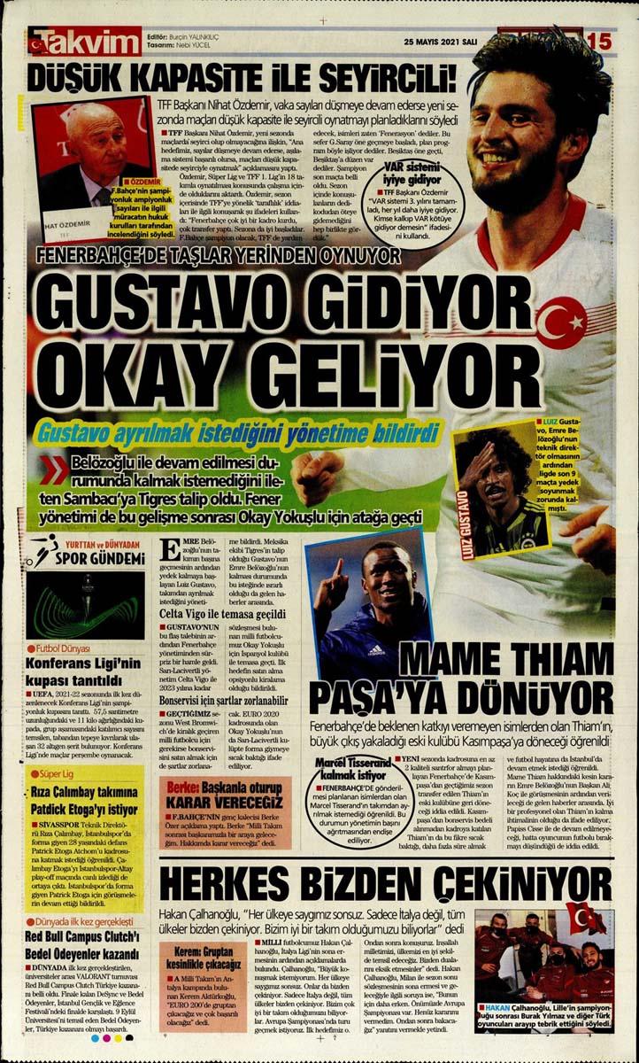 25 Mayıs 2021 Salı günün spor manşetleri   Fenerbahçe, Galatasaray, Beşiktaş ve Trabzonspor'dan haberler 16