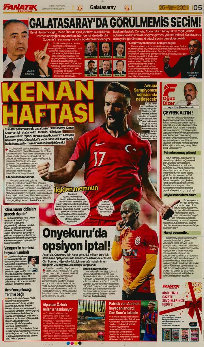25 Mayıs 2021 Salı günün spor manşetleri | Fenerbahçe, Galatasaray, Beşiktaş ve Trabzonspor'dan haberler 17