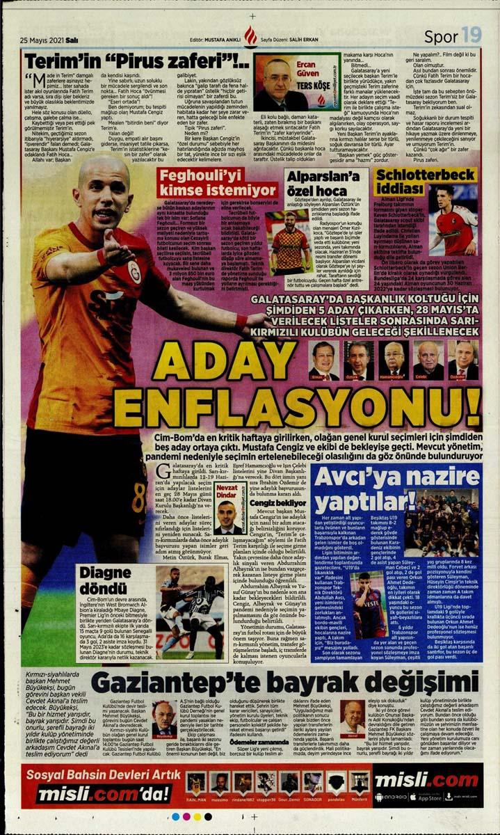 25 Mayıs 2021 Salı günün spor manşetleri | Fenerbahçe, Galatasaray, Beşiktaş ve Trabzonspor'dan haberler 18