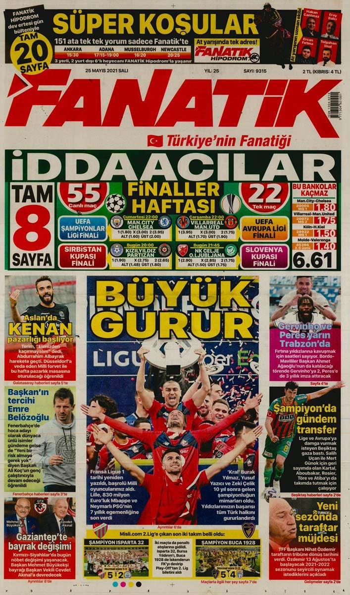 25 Mayıs 2021 Salı günün spor manşetleri | Fenerbahçe, Galatasaray, Beşiktaş ve Trabzonspor'dan haberler 19