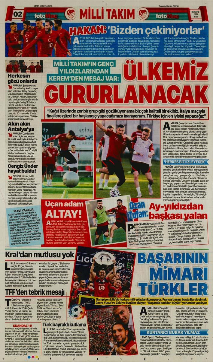 25 Mayıs 2021 Salı günün spor manşetleri   Fenerbahçe, Galatasaray, Beşiktaş ve Trabzonspor'dan haberler 20