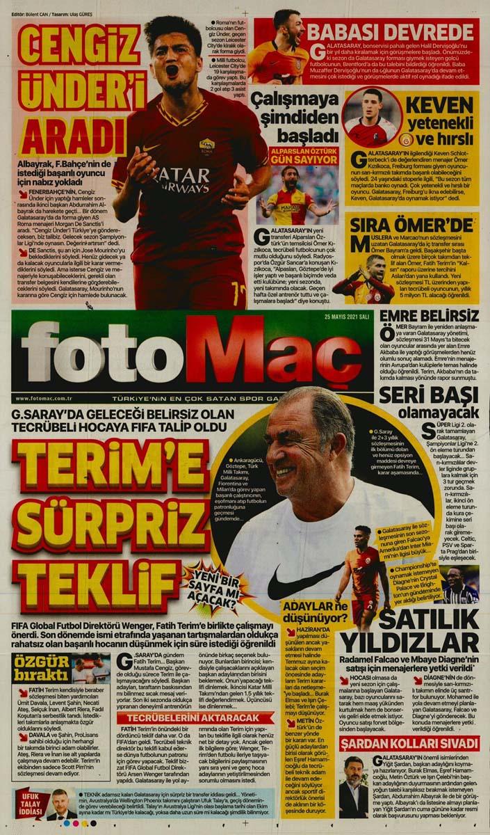 25 Mayıs 2021 Salı günün spor manşetleri   Fenerbahçe, Galatasaray, Beşiktaş ve Trabzonspor'dan haberler 22