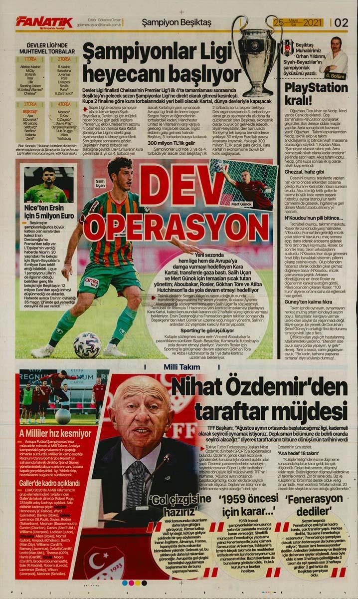25 Mayıs 2021 Salı günün spor manşetleri | Fenerbahçe, Galatasaray, Beşiktaş ve Trabzonspor'dan haberler 3