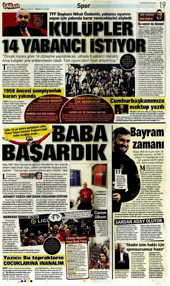 25 Mayıs 2021 Salı günün spor manşetleri | Fenerbahçe, Galatasaray, Beşiktaş ve Trabzonspor'dan haberler 5