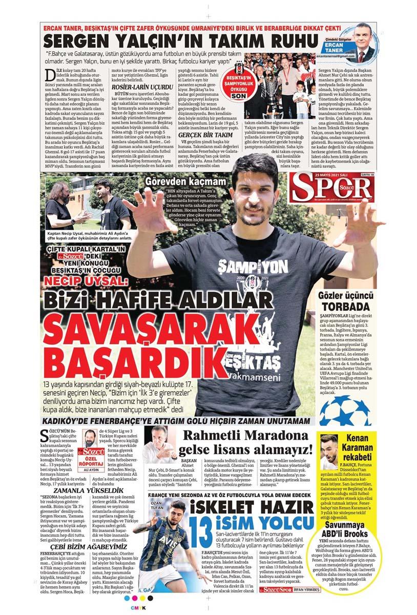 25 Mayıs 2021 Salı günün spor manşetleri | Fenerbahçe, Galatasaray, Beşiktaş ve Trabzonspor'dan haberler 8