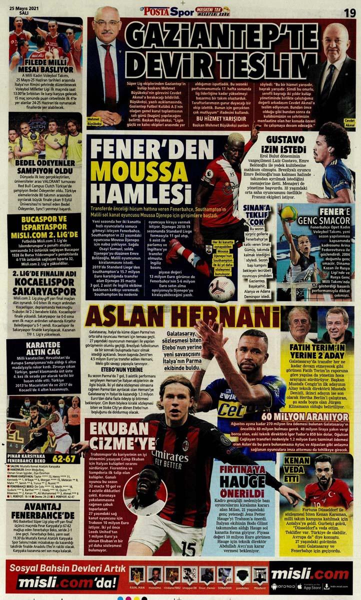 25 Mayıs 2021 Salı günün spor manşetleri   Fenerbahçe, Galatasaray, Beşiktaş ve Trabzonspor'dan haberler 9