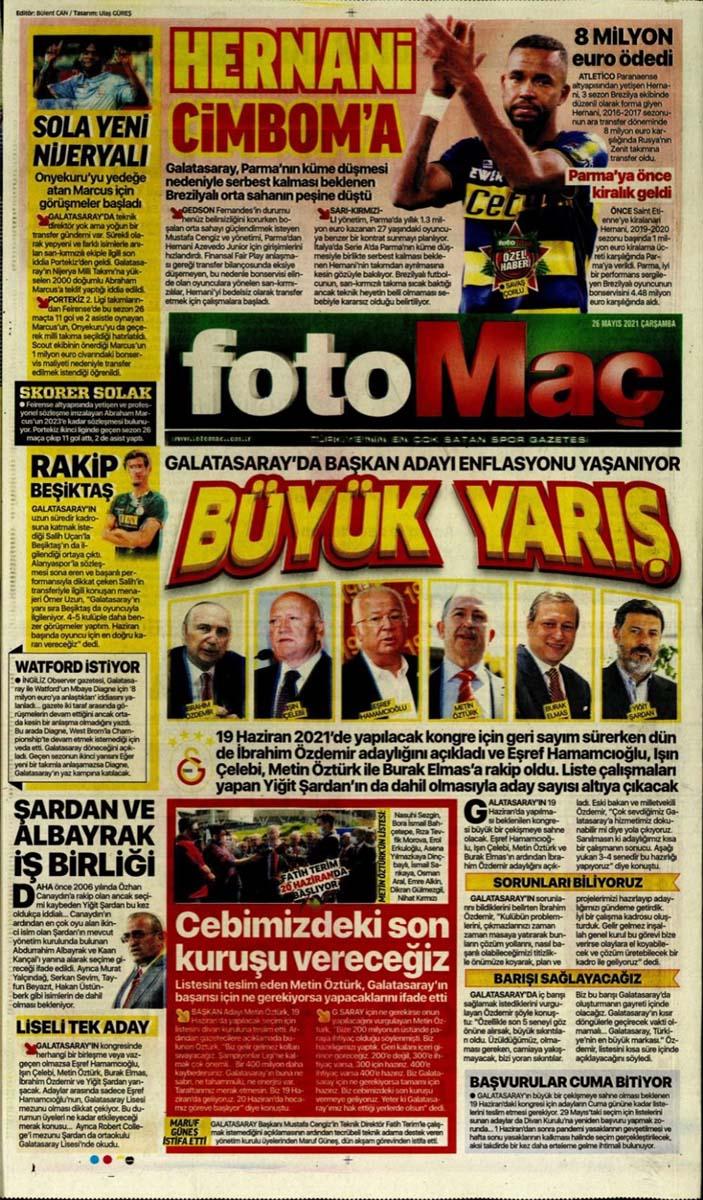 26 Mayıs 2021 Çarşamba günün spor manşetleri | Fenerbahçe, Galatasaray, Beşiktaş ve Trabzonspor'dan transfer haberler 1