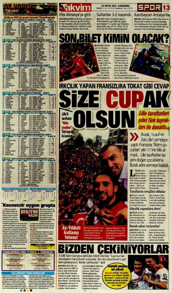 26 Mayıs 2021 Çarşamba günün spor manşetleri   Fenerbahçe, Galatasaray, Beşiktaş ve Trabzonspor'dan transfer haberler 11