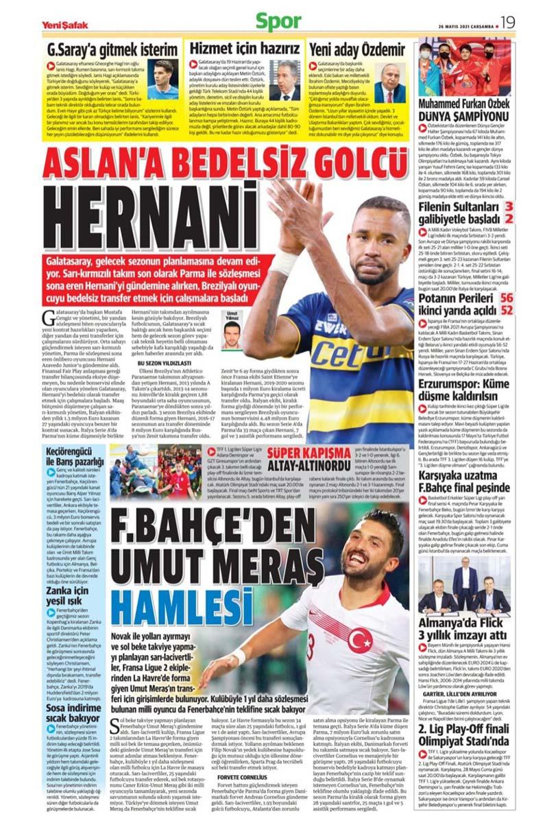 26 Mayıs 2021 Çarşamba günün spor manşetleri | Fenerbahçe, Galatasaray, Beşiktaş ve Trabzonspor'dan transfer haberler 12