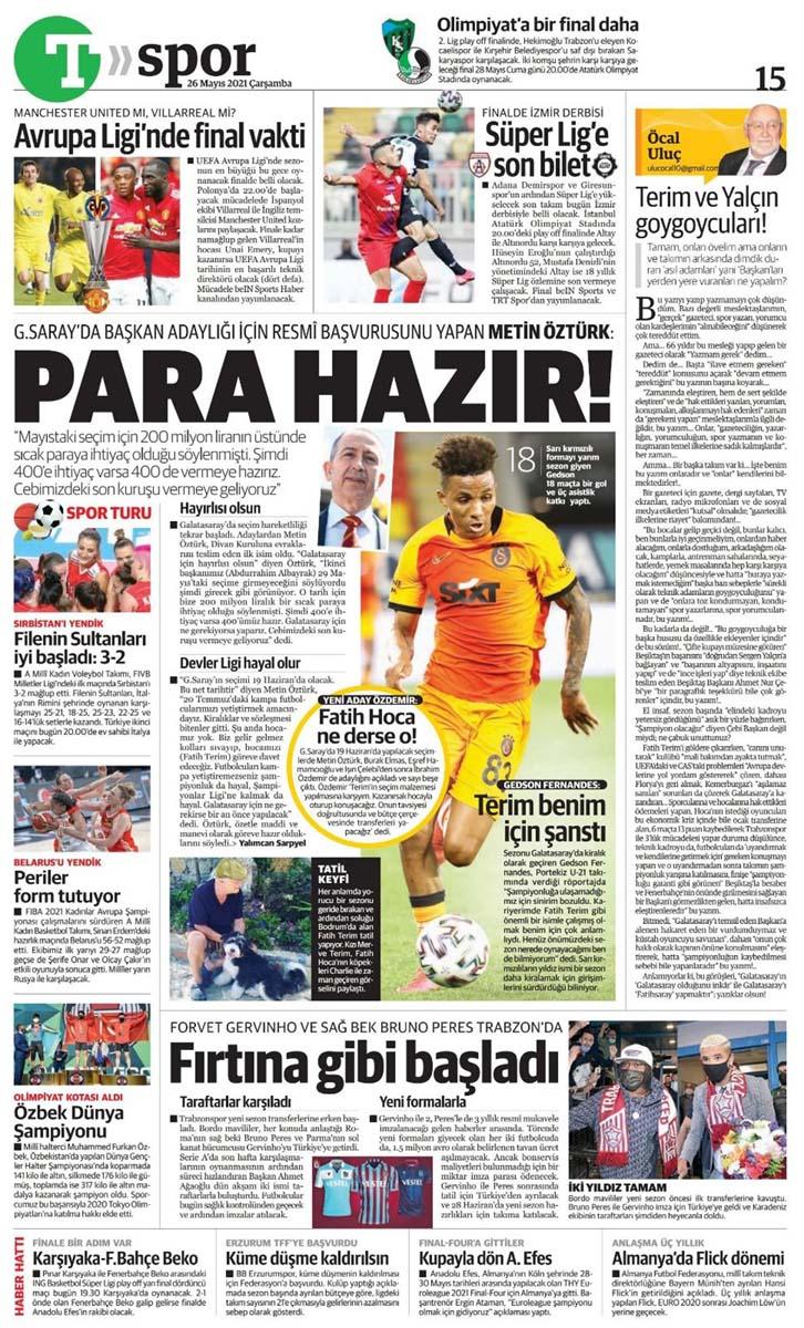 26 Mayıs 2021 Çarşamba günün spor manşetleri | Fenerbahçe, Galatasaray, Beşiktaş ve Trabzonspor'dan transfer haberler 14