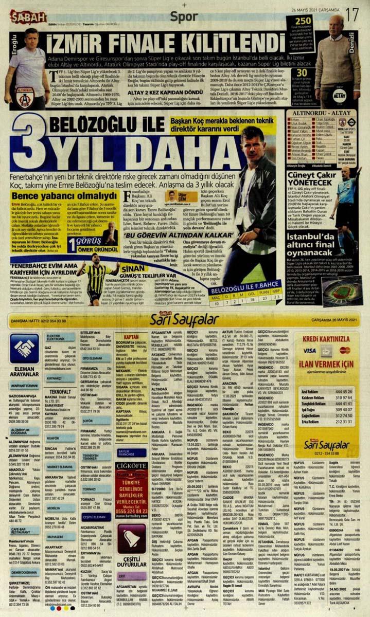 26 Mayıs 2021 Çarşamba günün spor manşetleri | Fenerbahçe, Galatasaray, Beşiktaş ve Trabzonspor'dan transfer haberler 17